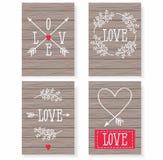 Sistema de las tarjetas para su diseño Amor Tarjetas para el día de fiesta Día de tarjeta del día de San Valentín Fotografía de archivo libre de regalías