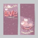 Sistema de las tarjetas verticales para el día de tarjeta del día de San Valentín Imagenes de archivo