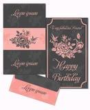 Sistema de las tarjetas y del sobre de felicitación en un estilo lujoso del vintage Fotografía de archivo