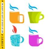 Sistema de las tazas coloreadas para el café y el té Fotos de archivo libres de regalías