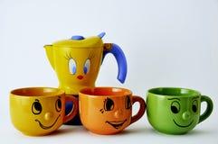 Sistema de las tazas y de la fantasía de café Fotografía de archivo libre de regalías