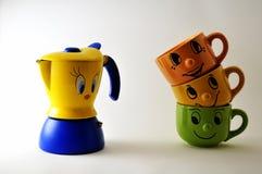Sistema de las tazas y de la fantasía de café Fotos de archivo