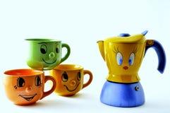 Sistema de las tazas y de la fantasía de café Fotos de archivo libres de regalías