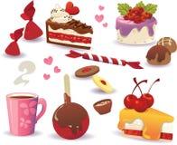 Sistema de las tortas y de la otra comida dulce, aislado en el fondo blanco imágenes de archivo libres de regalías