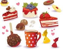 Sistema de las tortas y de la otra comida dulce, aislado en el fondo blanco Foto de archivo