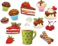Sistema de las tortas y de la otra comida dulce, aislado en el fondo blanco imagenes de archivo