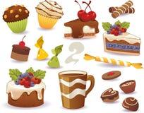 Sistema de las tortas y de la otra comida dulce, aislado en el fondo blanco fotos de archivo