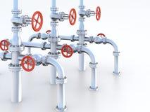 Sistema de las válvulas del petróleo. Fotografía de archivo libre de regalías