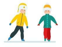 Sistema de las vacaciones del invierno Vacaciones de invierno del ` s de los niños Muchacho y muchacha que patinan en el hielo Am stock de ilustración