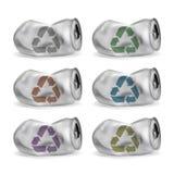 Sistema de latas de aluminio atascadas Imágenes de archivo libres de regalías