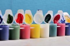 Sistema de latas de artista de la pintura Fotos de archivo libres de regalías