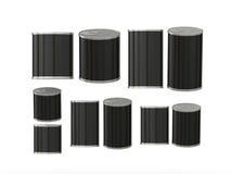 Sistema de latas en blanco negras en diversos tamaños, trayectoria de recortes incluyendo Imagen de archivo