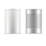 Sistema de latas Lata blanca con el casquillo Foto de archivo libre de regalías