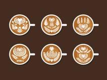 Sistema de Latte Art White Cup Fotografía de archivo