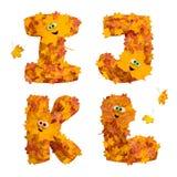 Sistema de letras animadas enormes del alfabeto del otoño: I, J, K, L Foto de archivo libre de regalías