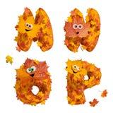 Sistema de letras animadas enormes del alfabeto del otoño: M, N, O, P Fotografía de archivo