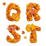 Sistema de letras animadas enormes del alfabeto del otoño: Q, R, S, T Foto de archivo