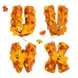 Sistema de letras animadas enormes del alfabeto del otoño: U, V, W, X Fotografía de archivo libre de regalías