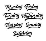 Sistema de letras de días de la semana Estilo moderno dibujado mano de la pluma del cepillo de la caligrafía Negro en el fondo bl ilustración del vector