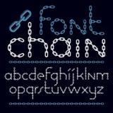Sistema de letras del alfabeto inglés del vector aisladas Fuente decorativa minúscula creada usando cadena del cromo ilustración del vector