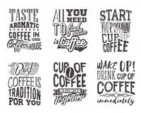 Sistema de letras del café Ejemplo del vector con cita dibujada mano Foto de archivo libre de regalías