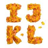 Sistema de letras enormes del alfabeto del otoño: I, J, K, L Fotografía de archivo libre de regalías