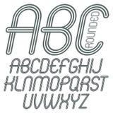 Sistema de letras mayúsculas del alfabeto inglés del vector del disco, ISO del ABC Imágenes de archivo libres de regalías