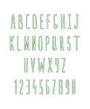 Sistema de letras y de números, hecho a mano Fuente del bosquejo Fotografía de archivo libre de regalías
