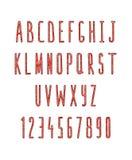 Sistema de letras y de números, hecho a mano Fuente del bosquejo Fotografía de archivo