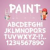 Sistema de letras y de números pintados en una pared libre illustration