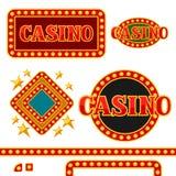 Sistema de letreros y de fronteras del casino con las bombillas Fotos de archivo
