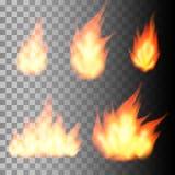 Sistema de llamas realistas del fuego Imágenes de archivo libres de regalías