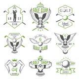 Sistema de logotipo, de etiquetas y de emblemas del golf stock de ilustración