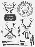 Sistema de logotipo, de etiquetas y de insignias de la caza del vintage Ciervos claxon arma Vector Imagenes de archivo