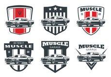 Sistema de logotipo, de emblemas y de insignias clásicos del coche del músculo stock de ilustración