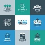 Sistema de logotipo y de muestras de las propiedades inmobiliarias Fotografía de archivo