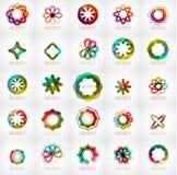 Sistema de logotipos abstractos de la forma de la flor de la estrella Fotos de archivo libres de regalías