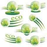 Sistema de logotipos abstractos del eco bajo la forma de bol de vidrio con las hojas Imagen de archivo