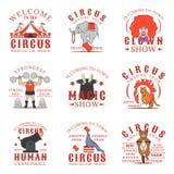 Sistema de logotipos, de emblemas, de etiquetas y de insignias del circo Sistema de plantillas del vector en el fondo blanco Fotografía de archivo