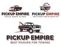 Sistema de logotipos, de emblemas y de iconos retros de las camionetas pickup Imágenes de archivo libres de regalías
