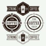 Sistema de logotipos, de etiquetas y de emblemas del café del vintage Fotos de archivo