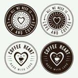 Sistema de logotipos, de etiquetas y de emblemas del café del vintage Imagen de archivo