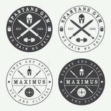 Sistema de logotipos, de etiquetas y de emblemas del gimnasio del vintage Foto de archivo