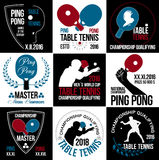 Sistema de logotipos, de etiquetas y de insignias de los tenis de mesa Imagenes de archivo