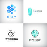 Sistema de logotipos de la joyería, ejemplo del diamante, iconos cristalinos del vector stock de ilustración