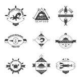 Sistema de logotipos de los mariscos Fotos de archivo