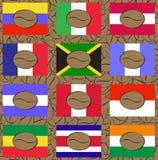 Sistema de logotipos del café con las banderas de los países de la fabricación Fotos de archivo libres de regalías