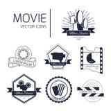 Sistema de logotipos del cine del vector stock de ilustración