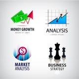 Sistema de logotipos del concepto del negocio, estrategia del vector Imágenes de archivo libres de regalías