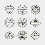 Sistema de logotipos del desierto del vintage emblemas al aire libre diseñados retros dibujados mano de la aventura Ilustración d Fotografía de archivo libre de regalías
